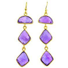 15.37cts natural purple amethyst 14k gold dangle earrings jewelry t11384