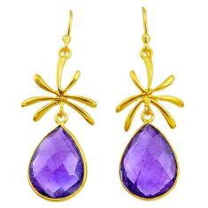 15.98cts natural purple amethyst 14k gold handmade dangle earrings t11404