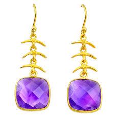 10.53cts natural purple amethyst 14k gold handmade dangle earrings t14634