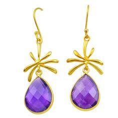 Handmade14.73cts natural purple amethyst 14k gold dangle earrings t16524