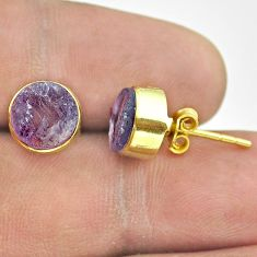925 silver 6.64cts natural purple amethyst raw 14k gold stud earrings t52348
