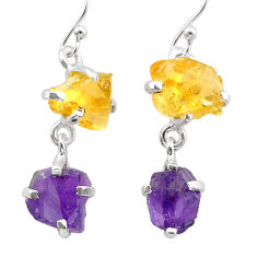 925 silver 10.20cts natural purple amethyst rough citrine raw earrings t25552