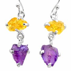 925 silver 9.20cts natural purple amethyst rough citrine raw earrings t25555