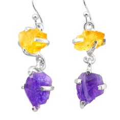 925 silver 10.72cts natural purple amethyst rough citrine raw earrings t25558