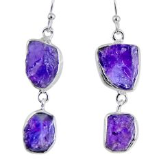 925 silver 17.38cts natural purple amethyst rough dangle earrings r55364