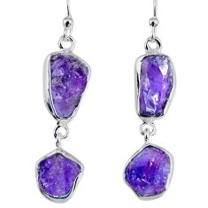 925 silver 15.10cts natural purple amethyst rough dangle earrings r55368