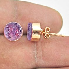 925 silver 6.16cts natural purple amethyst raw rose gold stud earrings t52344
