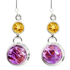 925 silver 9.39cts natural purple cacoxenite super seven dangle earrings d40297