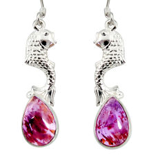 925 silver 6.62cts natural purple cacoxenite super seven fish earrings d40264