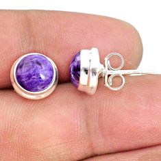925 silver 6.52cts natural purple charoite (siberian) stud earrings r73019