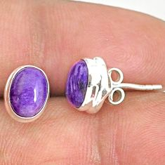 925 silver 3.77cts natural purple charoite (siberian) stud earrings r84788