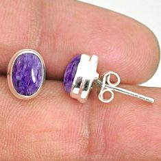 925 silver 4.22cts natural purple charoite (siberian) stud earrings r84813