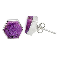 925 silver 7.06cts natural purple purpurite stichtite stud earrings r80273