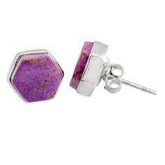 925 silver 6.58cts natural purple purpurite stichtite stud earrings r80296