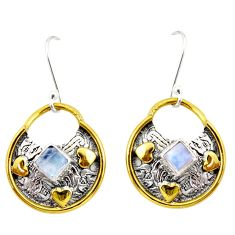 925 silver 2.33cts natural rainbow moonstone 14k gold dangle earrings d47539