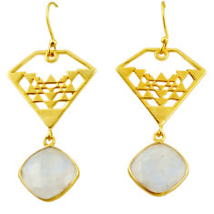 925 silver 12.69cts natural rainbow moonstone 14k gold dangle earrings r31591