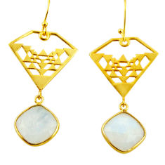 925 silver 12.67cts natural rainbow moonstone 14k gold dangle earrings r31594