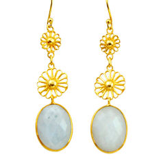 925 silver 12.48cts natural rainbow moonstone 14k gold dangle earrings r31617