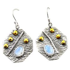925 silver 3.24cts natural rainbow moonstone 14k gold dangle earrings r37238
