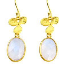 925 silver 11.17cts natural rainbow moonstone 14k gold dangle earrings r38498