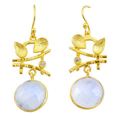 13.73cts natural rainbow moonstone 14k gold handmade dangle earrings t11373