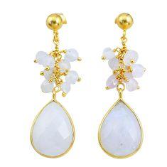 Handmade18.15cts natural rainbow moonstone 14k gold dangle earrings t16615