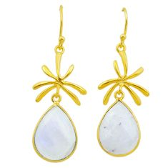 925 silver 13.73cts natural rainbow moonstone 14k gold dangle earrings t44118