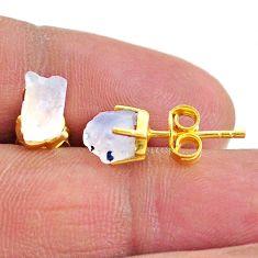 4.91cts natural rainbow moonstone 14k gold handmade stud earrings t7479