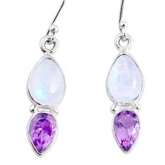 925 silver 7.85cts natural rainbow moonstone amethyst dangle earrings r66804