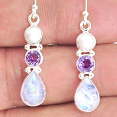 925 silver 9.29cts natural rainbow moonstone amethyst pearl earrings r76596