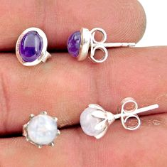 925 silver 5.47cts natural rainbow moonstone amethyst stud earrings r41291