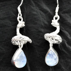 Clearance Sale- 925 silver 5.97cts natural rainbow moonstone anaconda snake earrings d40550