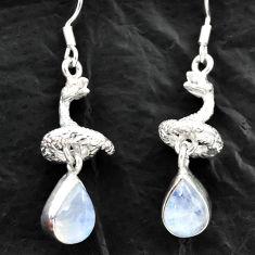 925 silver 5.97cts natural rainbow moonstone anaconda snake earrings d40550