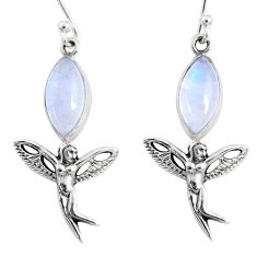 925 silver 9.98cts natural rainbow moonstone angel wings fairy earrings r66544