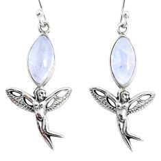 925 silver 10.02cts natural rainbow moonstone angel wings fairy earrings r66560