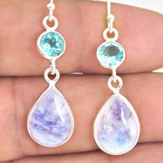 925 silver 12.96cts natural rainbow moonstone blue topaz dangle earrings r77364