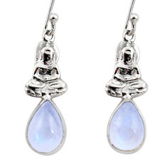 925 silver 4.52cts natural rainbow moonstone buddha charm earrings r48138