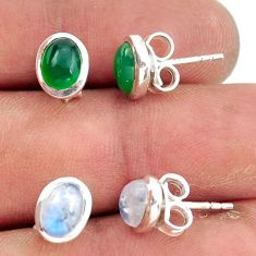 925 silver 5.43cts natural rainbow moonstone chalcedony stud earrings r41297