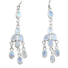 925 silver 14.08cts natural rainbow moonstone chandelier earrings jewelry r33453
