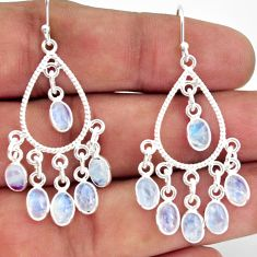 925 silver 13.85cts natural rainbow moonstone chandelier earrings jewelry r37360