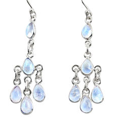 925 silver 10.08cts natural rainbow moonstone chandelier earrings jewelry r37560