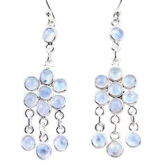 925 silver 13.70cts natural rainbow moonstone chandelier earrings r35618