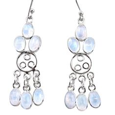 925 silver 11.10cts natural rainbow moonstone chandelier earrings r37418