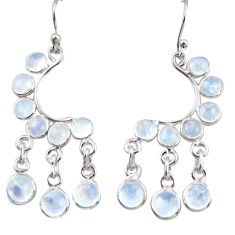 925 silver 13.15cts natural rainbow moonstone chandelier earrings r38679