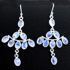 925 silver 13.64cts natural rainbow moonstone chandelier earrings t37404