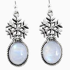 925 silver 9.40cts natural rainbow moonstone dangle snowflake earrings r66573