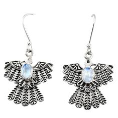 Clearance Sale- 925 silver 2.19cts natural rainbow moonstone eagle charm earrings d40396