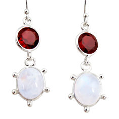 925 silver 12.58cts natural rainbow moonstone garnet dangle earrings r36528