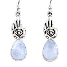 925 silver 5.10cts natural rainbow moonstone hand of god hamsa earrings r48150