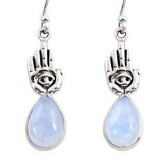 925 silver 5.15cts natural rainbow moonstone hand of god hamsa earrings r48153